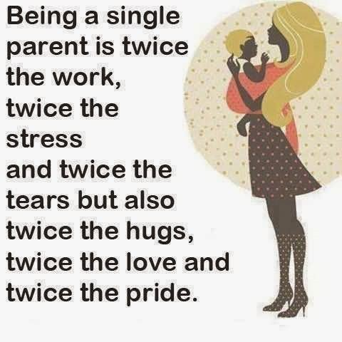 Being a single parent is twice the work twice the stress