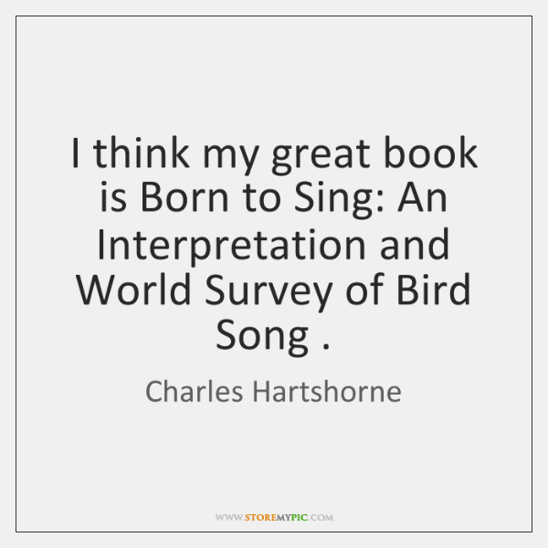 I think my great book is Born to Sing: An Interpretation and ...