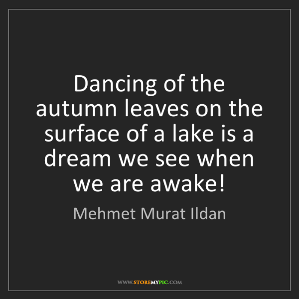 Mehmet Murat Ildan: Dancing of the autumn leaves on the surface of a lake...