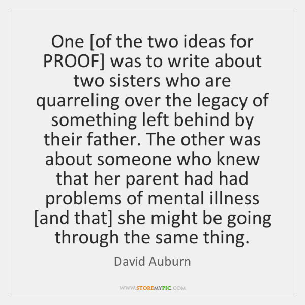 One [of the two ideas for PROOF] was to write about two ...