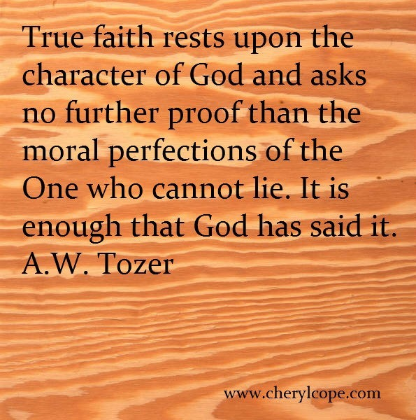 True faith rests upon the character of god and asks no further proof than the moral perf