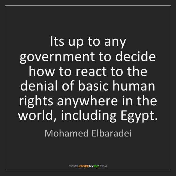 Mohamed Elbaradei: Its up to any government to decide how to react to the...