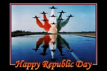 Happy republic day aeroplanes spreading tricolor