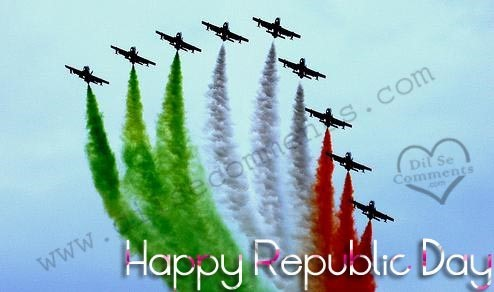 Happy republic day indian flag tri color by aeroplanes