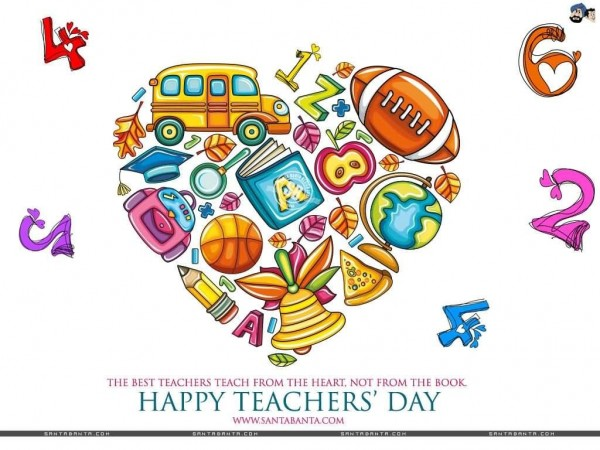 Happy teachers day beautiful heart clipart