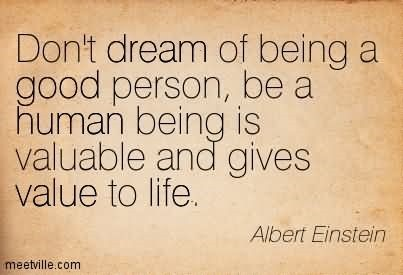 Dont dream of being a good person be a human being is valuable and gives value to