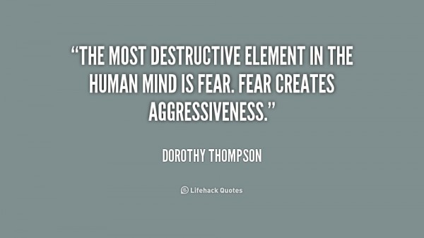 The most destructive element in the human mind is fear fear creates aggressiveness