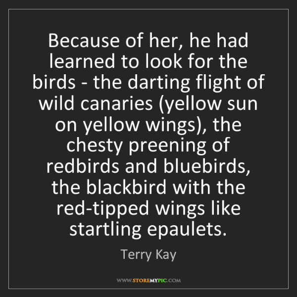 Terry Kay: Because of her, he had learned to look for the birds...