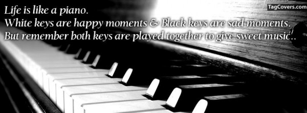 Life is like a piano white keys are happy moments black keys are sad moments but remember both keys