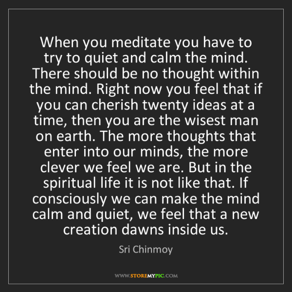 Sri Chinmoy: When you meditate you have to try to quiet and calm the...