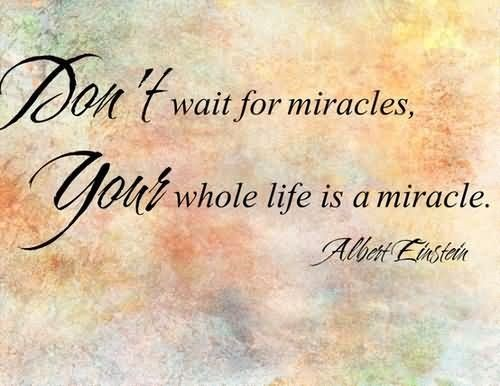Dont wait for miracles your whole life is a miracle