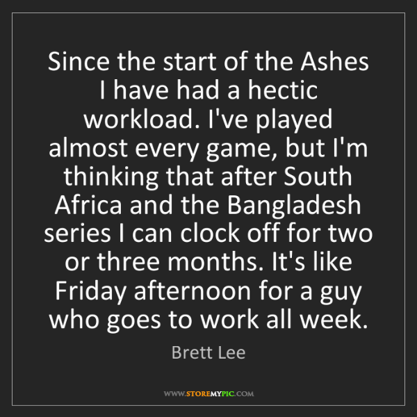 Brett Lee: Since the start of the Ashes I have had a hectic workload....