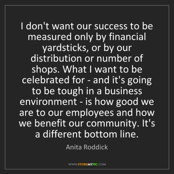 Anita Roddick: I don't want our success to be measured only by financial...