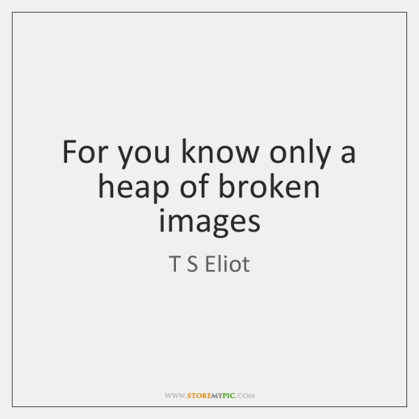 For you know only a heap of broken images