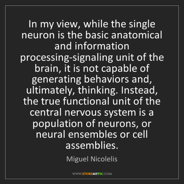 Miguel Nicolelis: In my view, while the single neuron is the basic anatomical...