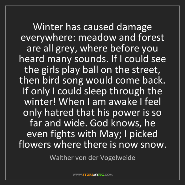 Walther von der Vogelweide: Winter has caused damage everywhere: meadow and forest...