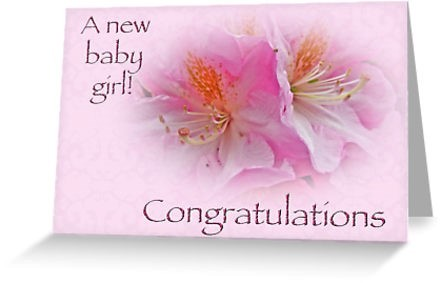 A new baby girl congratulations greeting card
