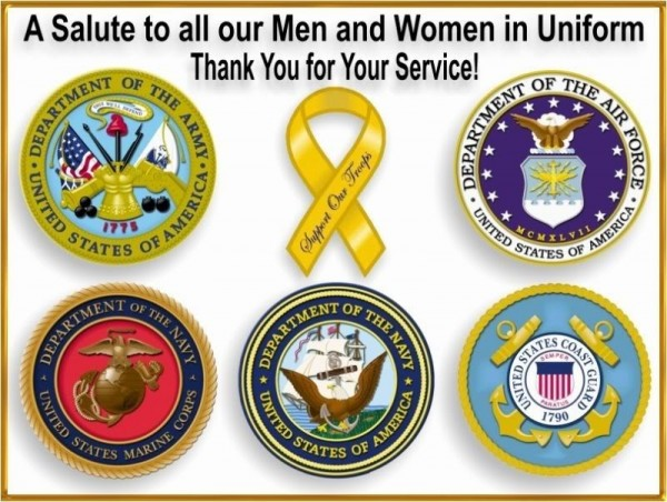 A salute to all our men and women in uniform thank you for your services armed forces day