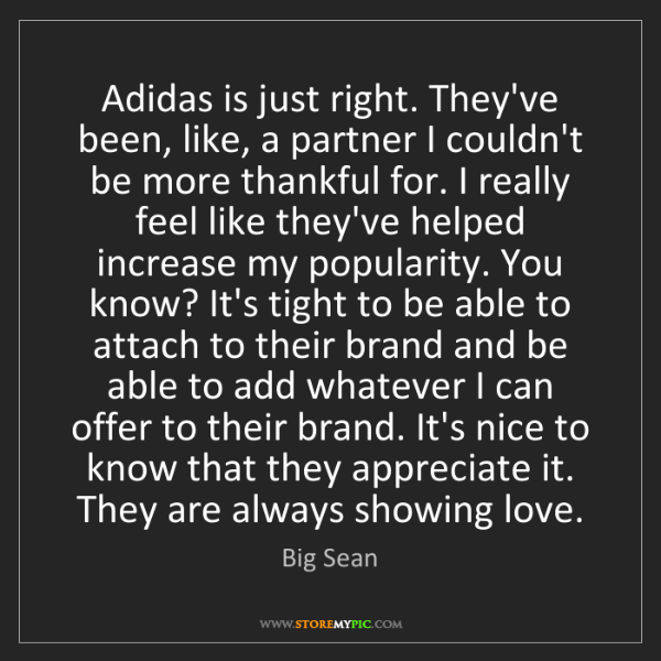 Big Sean: Adidas is just right. They've been, like, a partner I...