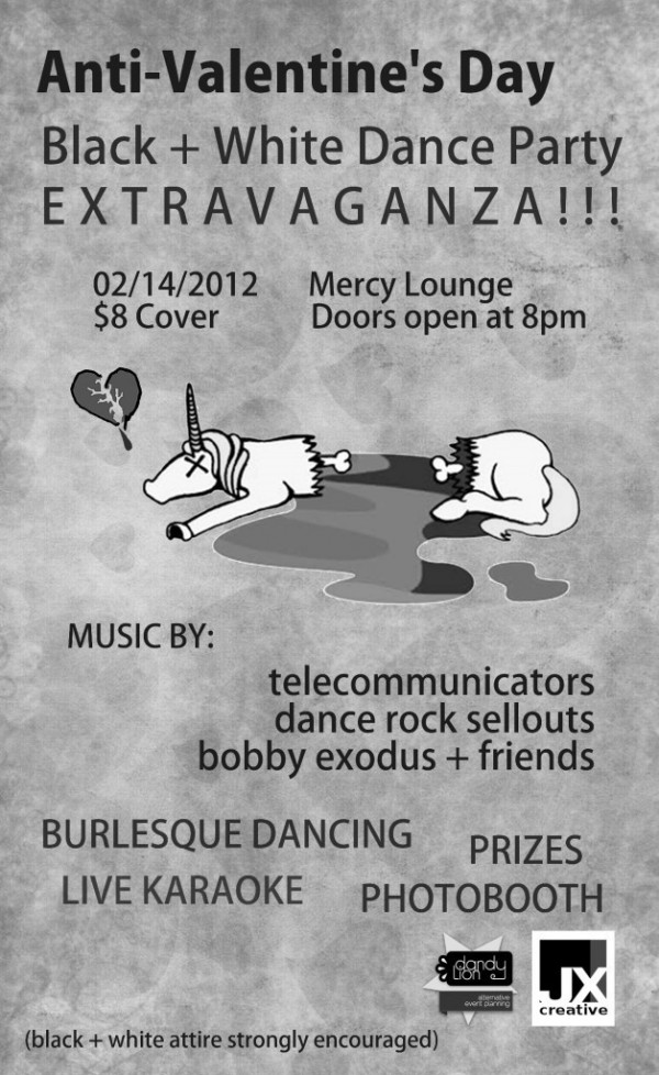 Anti valentines day black white dance party