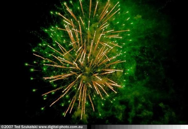 Australia day green fireworks