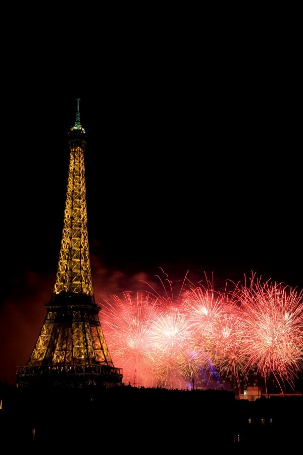 Bastille day firework over eiffel tower