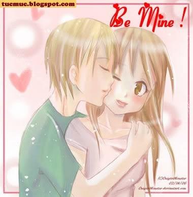 Be mine boy and girl cartoon
