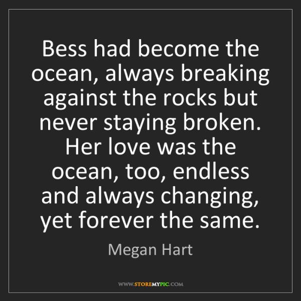 Megan Hart: Bess had become the ocean, always breaking against the...