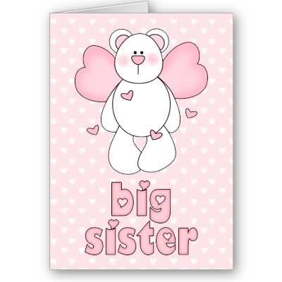 Big sister teddy bear greeting card