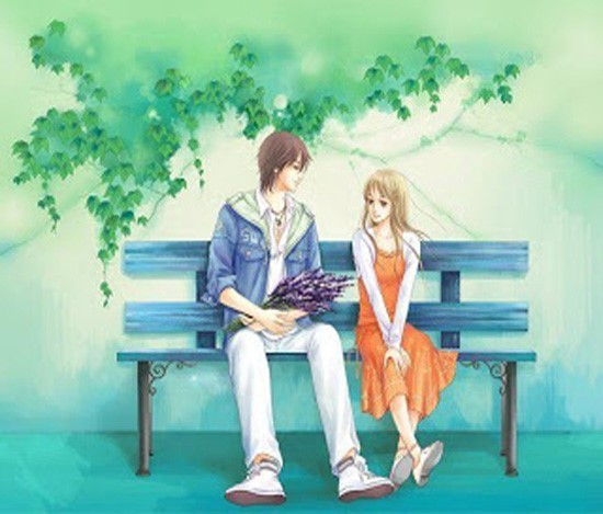Boy and girl sitting on bench for propose happy propose day
