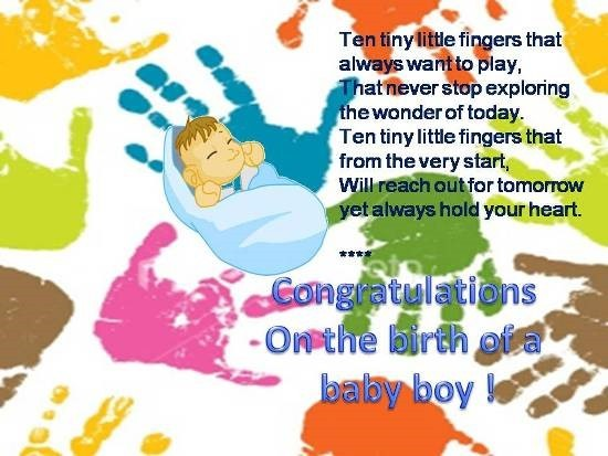 Congratulations on the birth of a baby boy