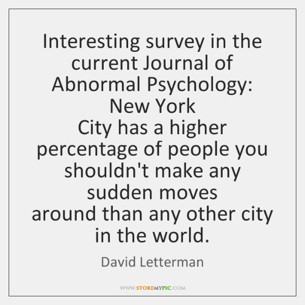 Interesting survey in the current Journal of Abnormal Psychology: New York   City ...