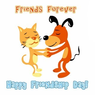 Friends forever happy friendship day cat dog