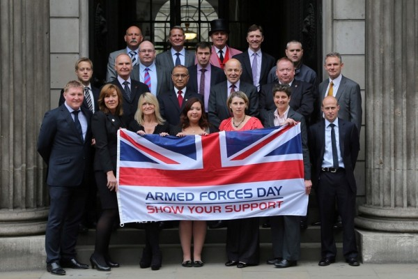 Group celebrating armed forces day