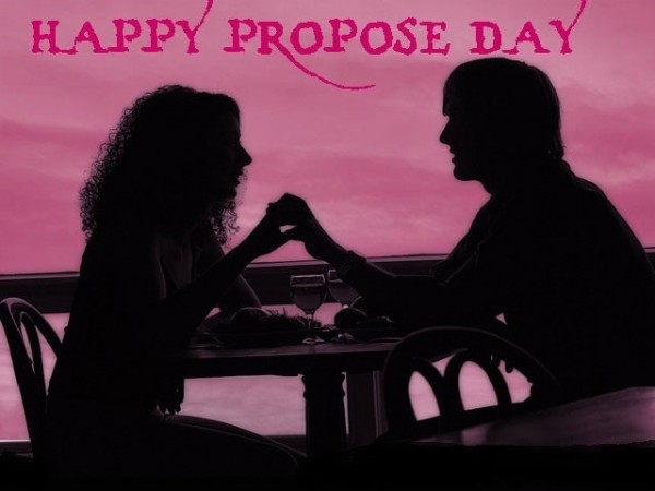 Happy propose day boy and girl on table