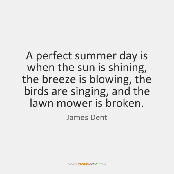 A perfect summer day is when the sun is shining, the breeze ...