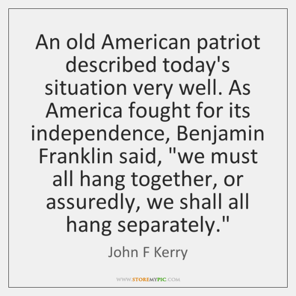 An old American patriot described today's situation very well. As America fought ...
