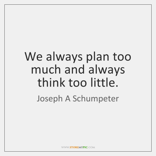 We always plan too much and always think too little.