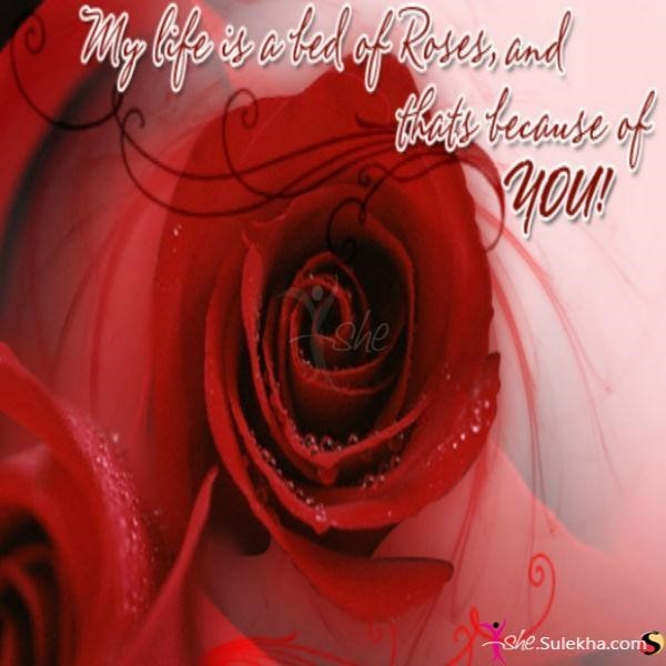 My life is a bed of roses and thats because of you happy rose day