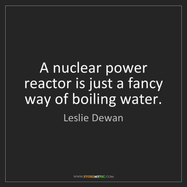 Leslie Dewan: A nuclear power reactor is just a fancy way of boiling...