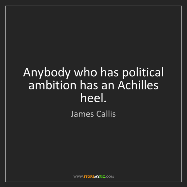 James Callis: Anybody who has political ambition has an Achilles heel.