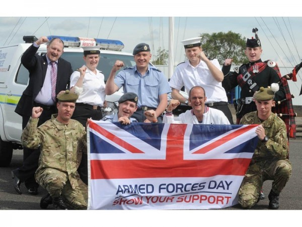 Service personnel supporting armed forces day