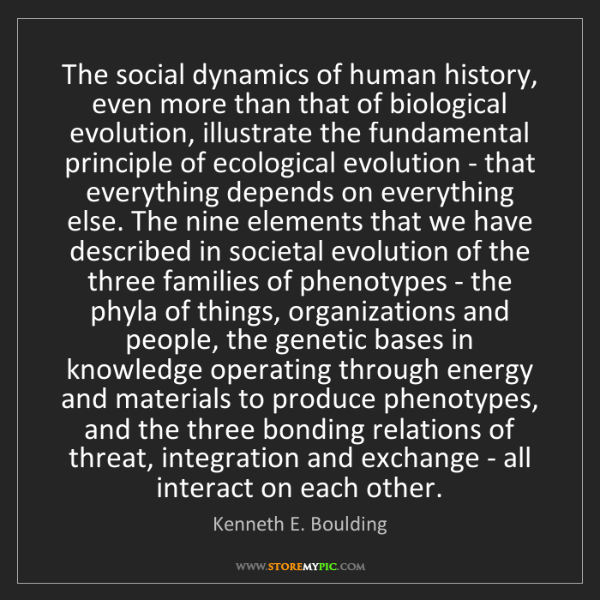 Kenneth E. Boulding: The social dynamics of human history, even more than...