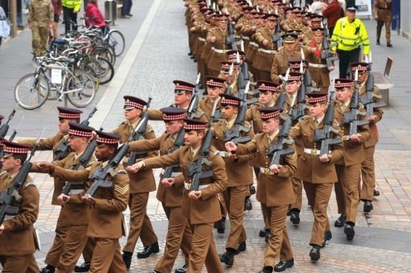 Soldiers from 1st battalion scots guards armed forces day