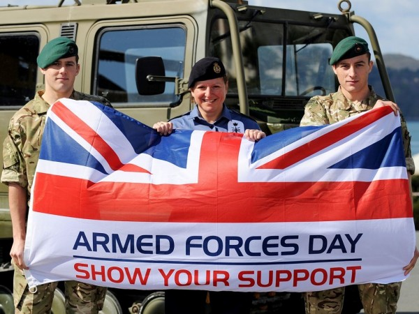 Soldiers with american flag armed forces day show your support