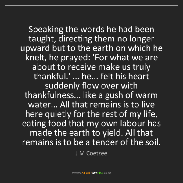 J M Coetzee: Speaking the words he had been taught, directing them...