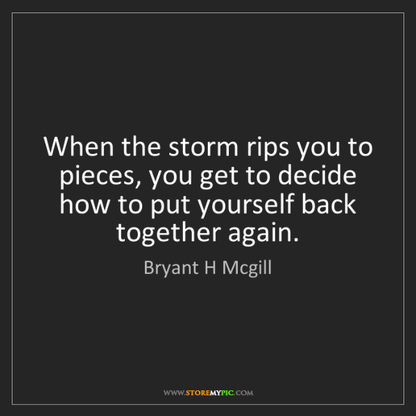 Bryant H Mcgill: When the storm rips you to pieces, you get to decide...