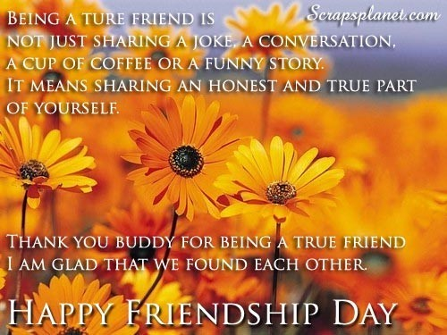 Thank you buddy for being a true friend happy friendship day