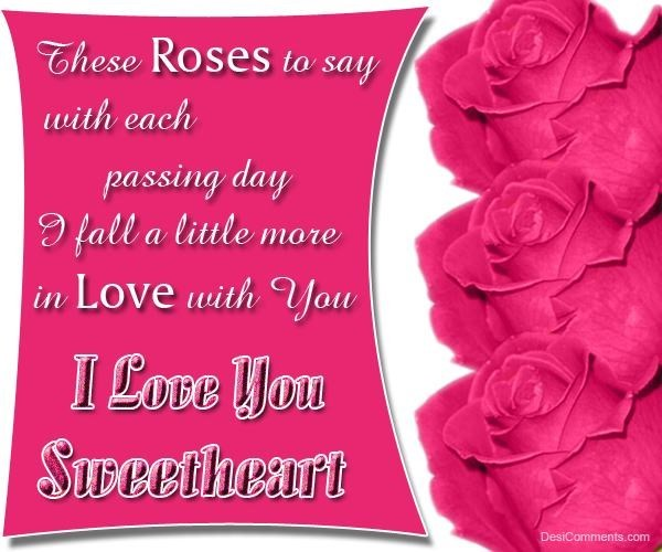 These roses to say with each passing day i fall a little more in love with you i love you sweetheart