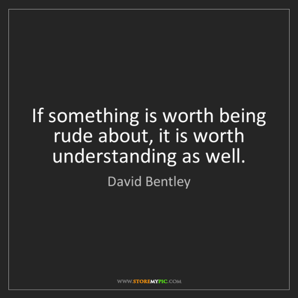 David Bentley: If something is worth being rude about, it is worth understanding...